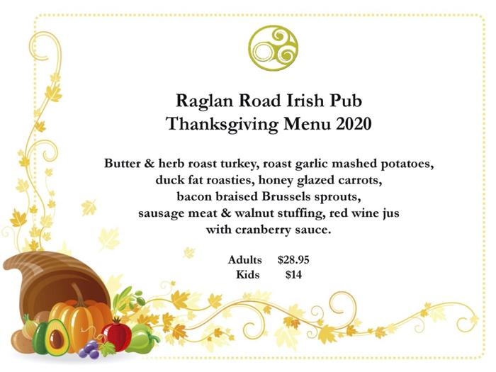 Raglan Road Irish Pub Restaurant Reveals Thanksgiving Day Menu For 2020 In Disney Springs Mousesteps
